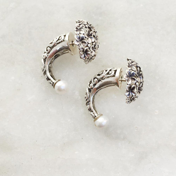 PEARL FRONT & BACK SILVER EARRING - SILBERUH