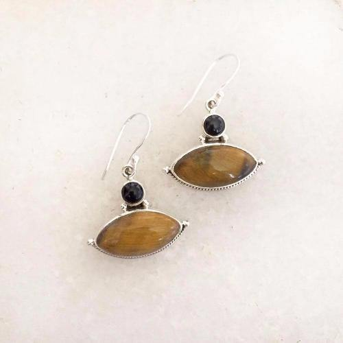 TIGER'S EYE & BLACK ONYX SILVER EARRING - SILBERUH