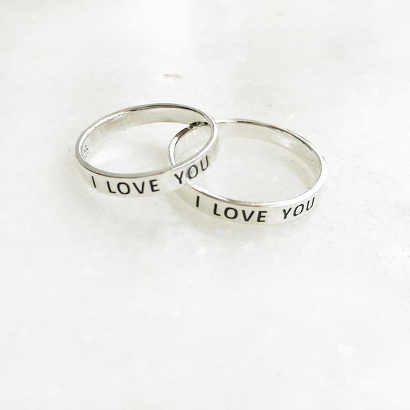 COUPLE 'I LOVE YOU' SILVER RINGS - SILBERUH
