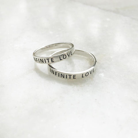 COUPLE 'INFINITE LOVE' BAND RING - SILBERUH