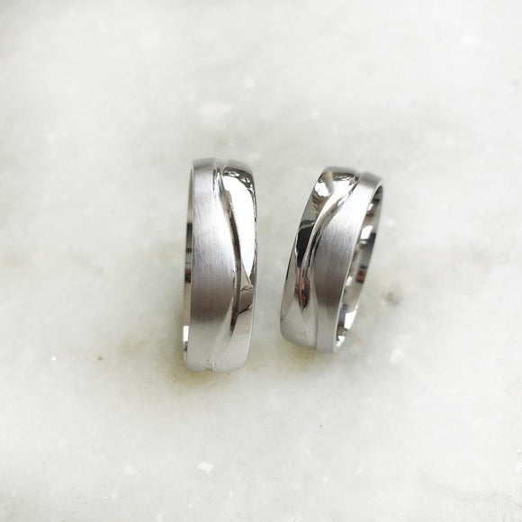 COUPLE WAVE SILVER RING - SILBERUH
