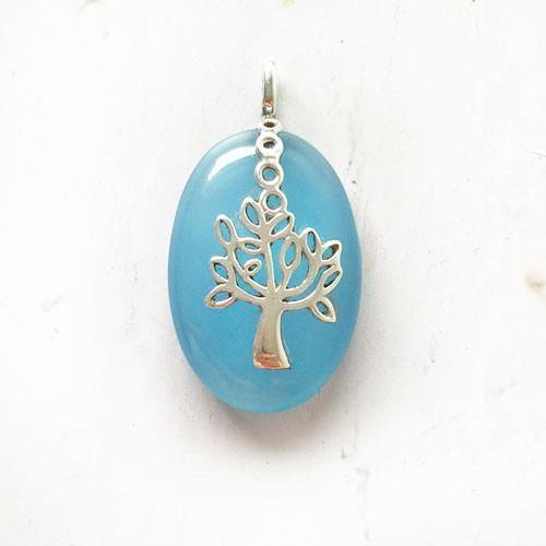 BLUE CHALCEDONY TREE OF LIFE SILVER PENDANT - SILBERUH