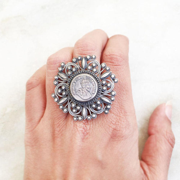 GEORGE KING EMPEROR COIN SILVER JALI RING - SILBERUH