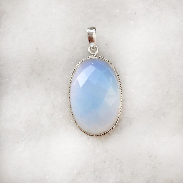 FIRE OPAL FACETTED SILVER PENDANT - SILBERUH