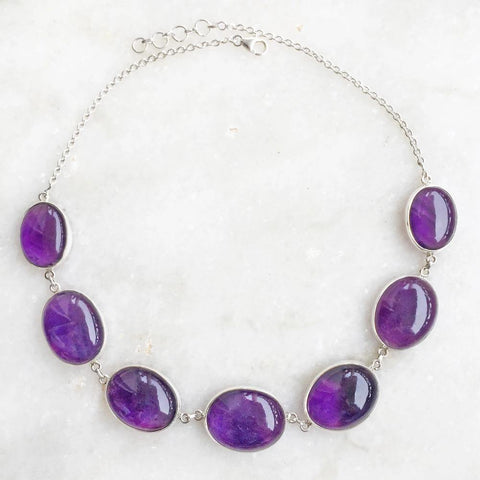 AMETHYST SILVER NECKLACE - SILBERUH