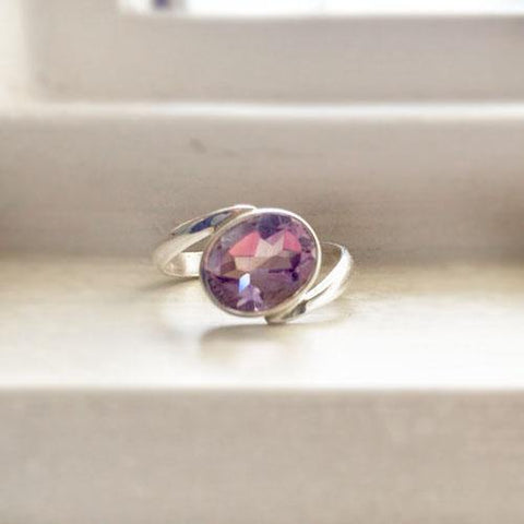 AMETHYST FACETTED SILVER RING