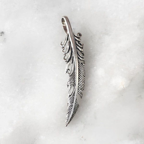 FEATHER SILVER PENDANT - SILBERUH