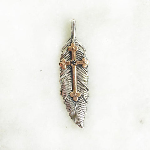 FEATHER CROSS SILVER PENDANT - SILBERUH