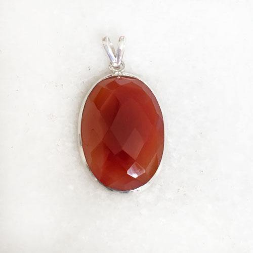 RED CARNELIAN FACETTED SILVER PENDANT
