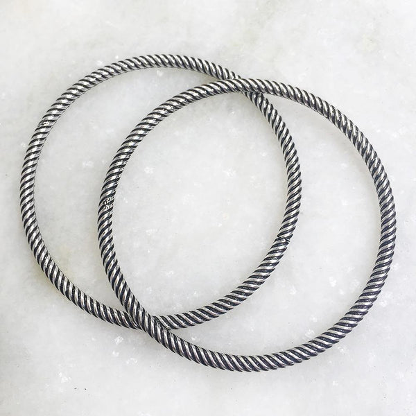 SILVER TWISTED BANGLES - SILBERUH