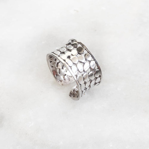 PEBBLE SILVER ADJUSTABLE RING - SILBERUH