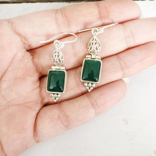 GREEN ONYX FILIGREE SILVER EARRING - SILBERUH