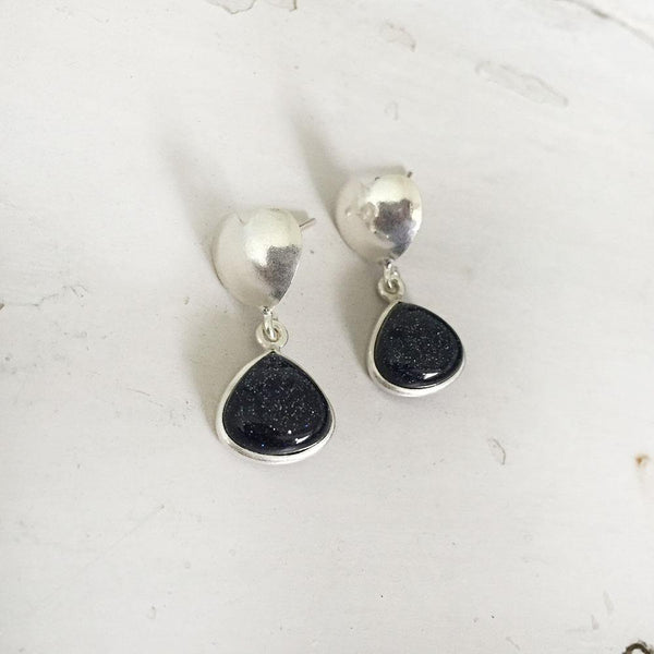 BLUE SUNSTONE HEART SILVER EARRING - SILBERUH