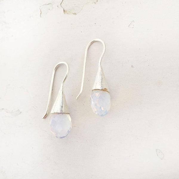 FIRE OPAL FACETTED SILVER DROP EARRING - SILBERUH