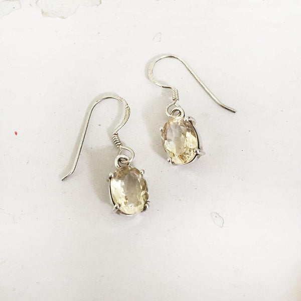 CITRINE FACETTED SILVER EARRING - SILBERUH