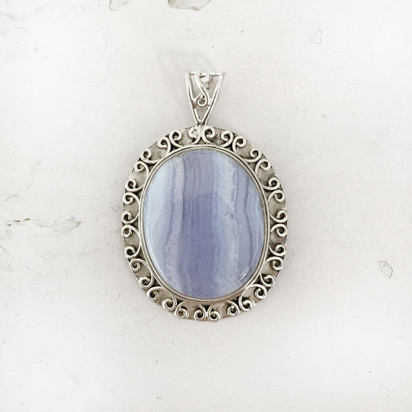 BLUE LACE AGATE SILVER PENDANT - SILBERUH