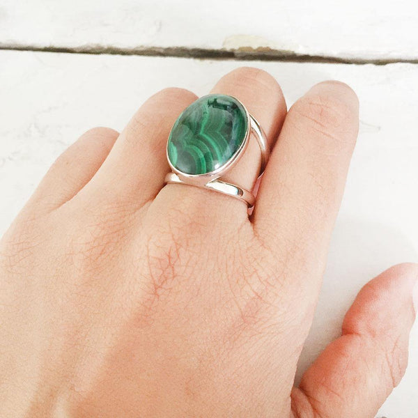 MALACHITE OVAL ADJUSTABLE SILVER RING - SILBERUH