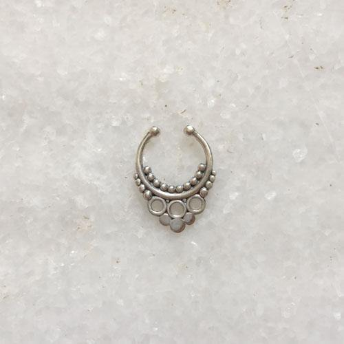 SEPTUM TRIBAL SILVER NOSE RING - SILBERUH