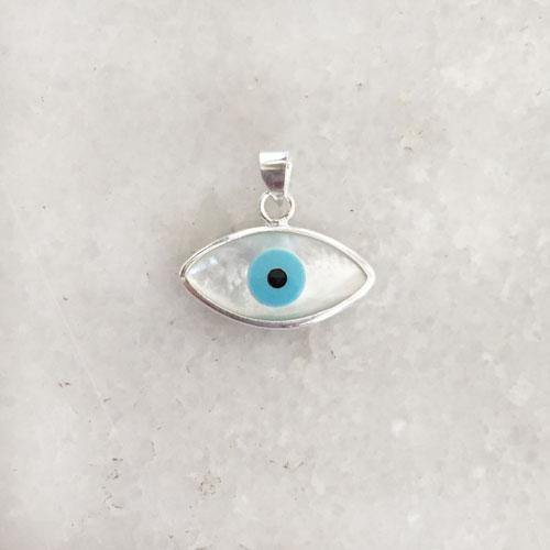 EVIL EYE MOTHER OF PEARL SILVER PENDANT - SILBERUH