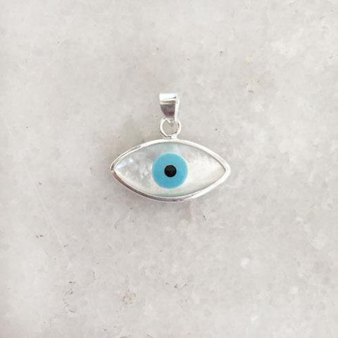 EVIL EYE MOTHER OF PEARL SILVER PENDANT