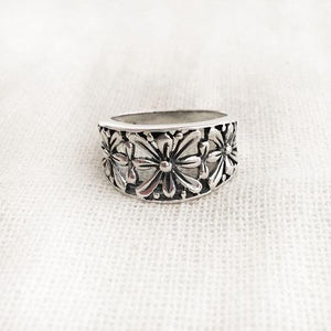 FLOWER SILVER RING - SILBERUH
