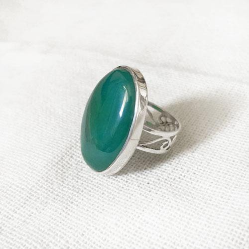 GREEN CHALCEDONY FILIGREE SILVER RING - SILBERUH