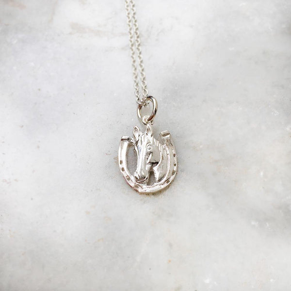HORSESHOE GOOD LUCK SILVER PENDANT - SILBERUH