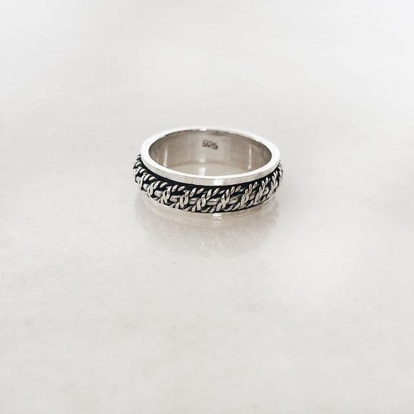 ROPE SILVER SPINNER BAND RING - SILBERUH