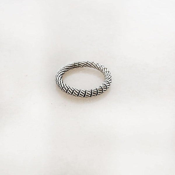 SILVER ROPE BAND RING - SILBERUH