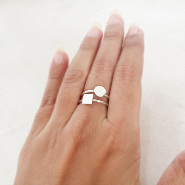 STACKING ROUND & SQUARE SILVER RING - SILBERUH