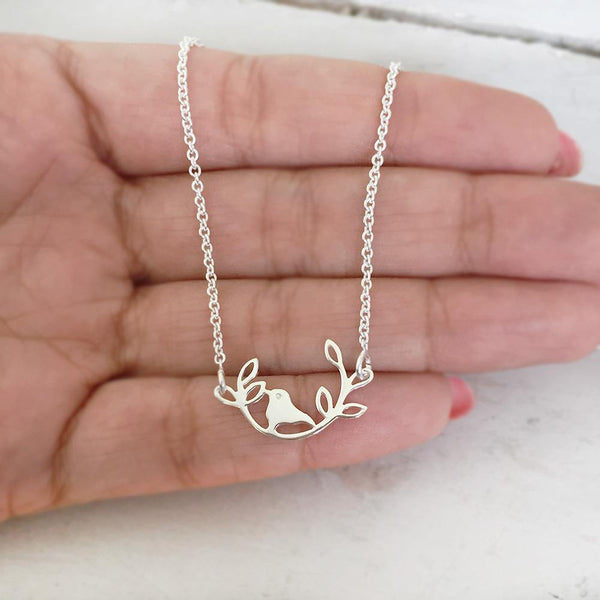 BIRD ON A BRANCH SILVER NECKLACE - SILBERUH