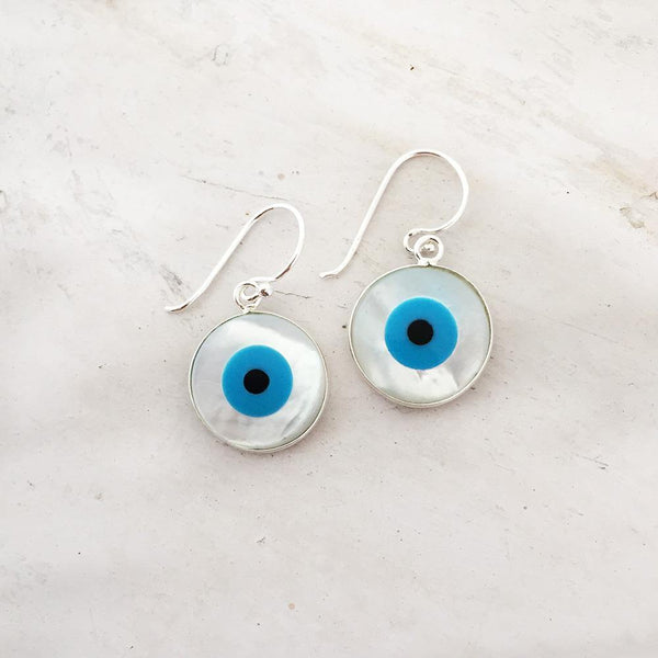 EVIL EYE MOTHER OF PEARL SILVER EARRING - SILBERUH
