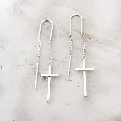 CROSS THREADER SILVER EARRING - SILBERUH
