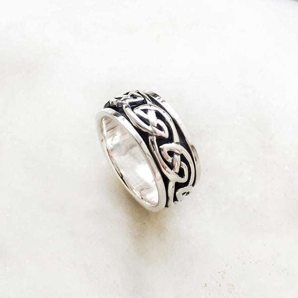 CELTIC KNOT SPINNER SILVER BAND - SILBERUH