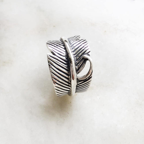 FEATHER SILVER ADJUSTABLE RING - SILBERUH