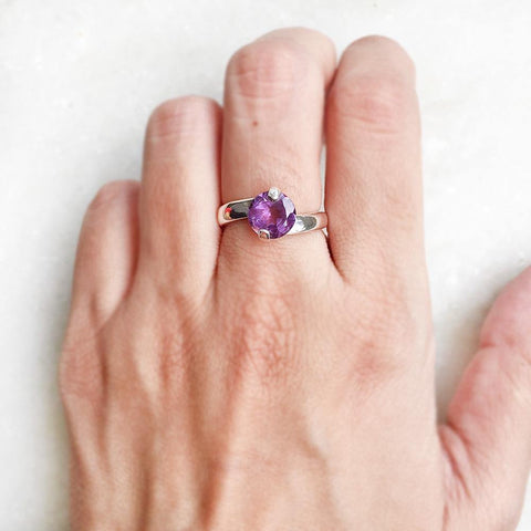 AMETHYST FACETTED SILVER RING - SILBERUH