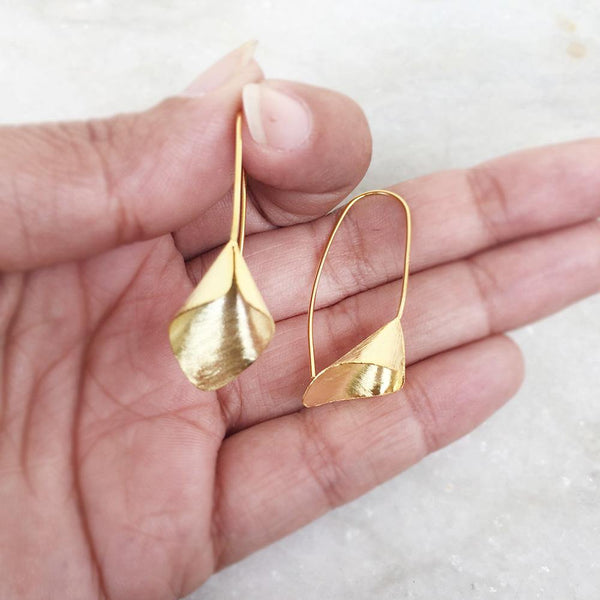 GOLD PLATED SILVER DROP EARRINGS - SILBERUH