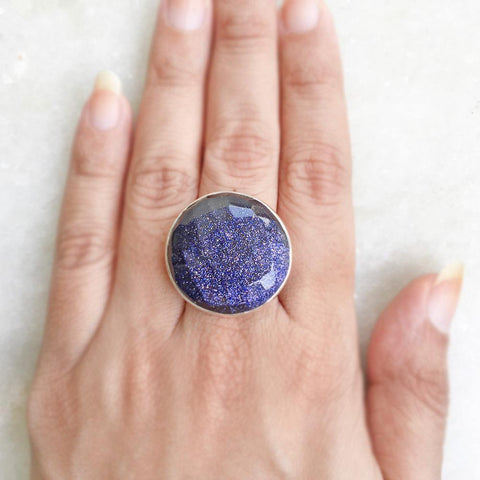 BLUE SUNSTONE FACETTED SILVER RING - SILBERUH