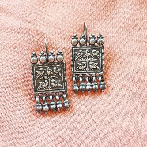 PEACOCK SILVER TRIBAL EARRING