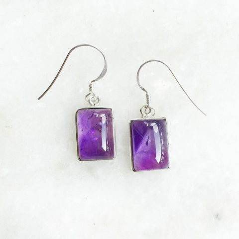 AMETHYST RECTANGULAR SILVER EARRINGS - SILBERUH