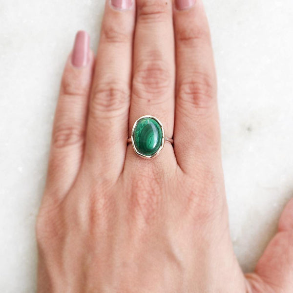 MALACHITE KNOTTED SILVER RING - SILBERUH
