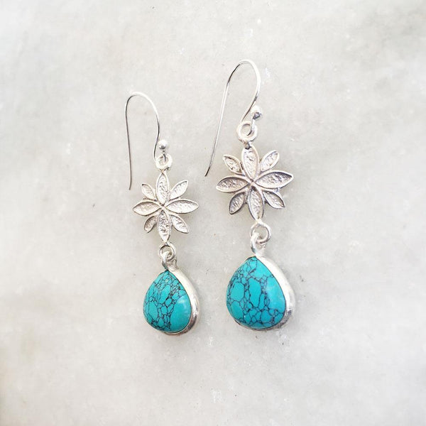 TURQUOISE FLOWER SILVER EARRING - SILBERUH