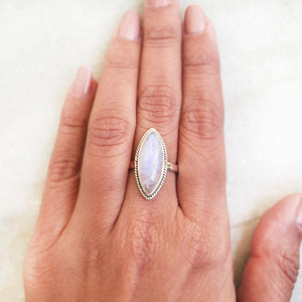 RAINBOW MOONSTONE SILVER RING - SILBERUH
