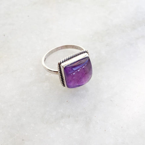 AMETHYST SQUARE SILVER RING - SILBERUH