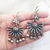PEACOCK SILVER TRIBAL EARRING - SILBERUH