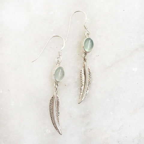 AQUA CHALCEDONY FEATHER SILVER EARRING