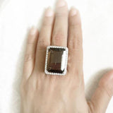 SMOKY QUARTZ FACETTED SILVER RING - SILBERUH