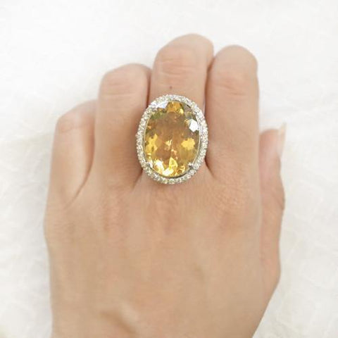 FACETTED CITRINE SILVER RING - SILBERUH