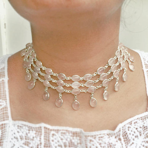 ROSE QUARTZ CHOKER SILVER NECKLACE - SILBERUH