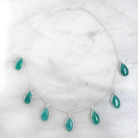 GREEN ONYX DROP SILVER NECKLACE